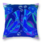 Celtic Fish On Blue And Lavender Throw Pillow
