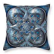 Celtic Hearts - Blue And Silver Throw Pillow