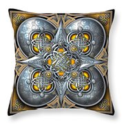 Celtic Hearts - Gold And Silver Throw Pillow by Richard Barnes