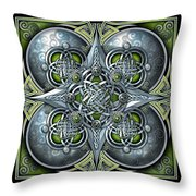 Celtic Hearts - Green And Silver Throw Pillow