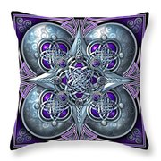 Celtic Hearts - Purple And Silver Throw Pillow