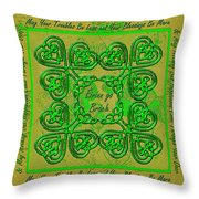 Celtic Irish Clover Home Blessing Throw Pillow