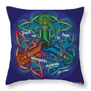 Celtic Mermaid Mandala Throw Pillow