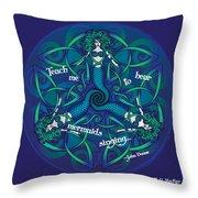 Celtic Mermaid Mandala In Blue And Green Throw Pillow