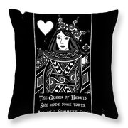 Celtic Queen Of Hearts Part I In Black And White Throw Pillow