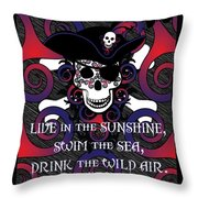 Celtic Spiral Pirate In Blues And Reds Throw Pillow