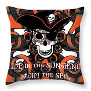 Celtic Spiral Pirate In Orange And Black Throw Pillow