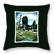 Cematary With Lemon Tree Throw Pillow