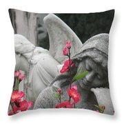 Cemetery Stone Angels And Flowers Throw Pillow