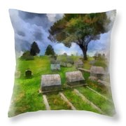 Cemetery Clouds Throw Pillow