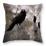 Cemetery Crows Throw Pillow