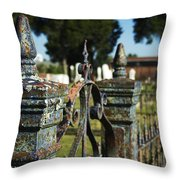 Cemetery Gate With Peeling Paint Throw Pillow