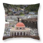 Cemetery In Old San Juan Puerto Rico Throw Pillow by Bryan Mullennix