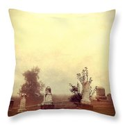 Cemetery In The Fog Throw Pillow