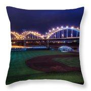 Centennial Bridge And Modern Woodmen Park Throw Pillow