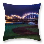 Centennial Bridge And Modern Woodmen Park Throw Pillow by Scott Norris