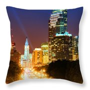 Center City Philadelphia Night Throw Pillow by Olivier Le Queinec