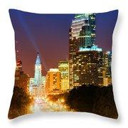 Center City Philadelphia Night Throw Pillow