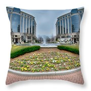 Center Fountain Piece In Piedmont Plaza Charlotte Nc Throw Pillow