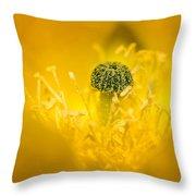 Center Of A Yellow Cactus Flower Throw Pillow