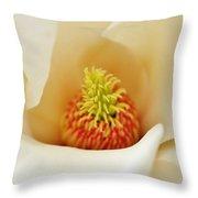Center Of Magnolia Flower Throw Pillow