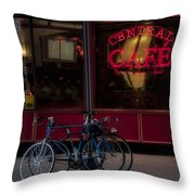 Central Cafe Bicycles Throw Pillow