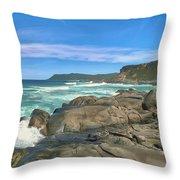 Central Coast Ca Ocean Waves Crashing On Rocks  4 Throw Pillow
