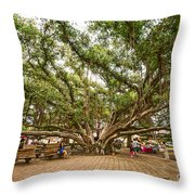 Central Court - Banyan Tree Park In Maui. Throw Pillow