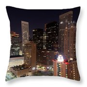 Central Houston At Night Throw Pillow