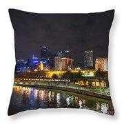 Central Melbourne Skyline At Night Australia Throw Pillow
