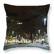 Central Melbourne Street At Night In Australia Throw Pillow
