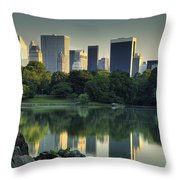 Central Park Lake Looking South Throw Pillow