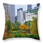 Central Park And Fifth Autumn View Throw Pillow