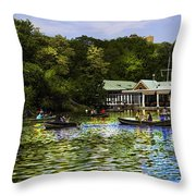 Central Park Boathouse Throw Pillow