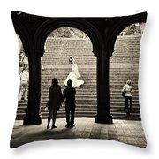 Central Park Bride Throw Pillow