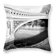 Central Park Bridges Bow Bridge Spanning Lake Throw Pillow