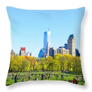 Central Park Panoramic View Throw Pillow
