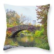 Central Park Gapstow Bridge Autumn II Throw Pillow