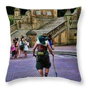 Central Park Hiker Throw Pillow