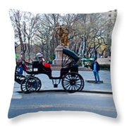 Central Park Horse Carriage Station Panorama Throw Pillow