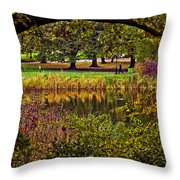 Central Park In Autumn - Nyc Throw Pillow