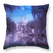 Central Park Lake Willows Color Throw Pillow