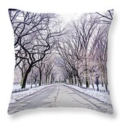 Central Park Mall In Winter Throw Pillow