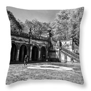 Central Park - Near Bethesda Fountain Throw Pillow