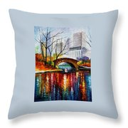Central Park - Palette Knife Oil Painting On Canvas By Leonid Afremov Throw Pillow