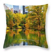 Central Park Pond Autumn Reflections Throw Pillow