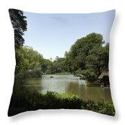 Central Park Pond Throw Pillow