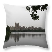 Central Park Reservoir With Reflection Nyc Throw Pillow