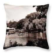 Central Park Rowing - New York City Throw Pillow