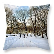 Central Park Snow Storm One Day Later2 Throw Pillow